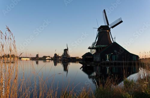 Windmills in Zaanse Schans at sunrise, The Netherlands