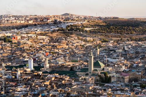 Plexiglas Marokko Aerial view of old Fez medina and Al Karaouine mosque(al-Qarawiyyin or Al Quaraouiyine) in Morocco