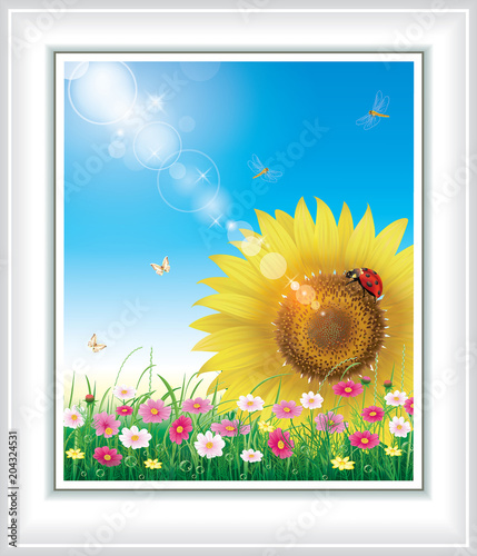 Fotobehang Wit Floral design with big sunflowers against the blue sky