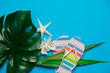 Quadro palm leaf with flower and flip flops. Objects isolated on blue background
