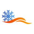 Logotipo estrella frio con ondas en color azul y naranja