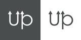 Tipografia up con flechas en gris y blanco - 204331513