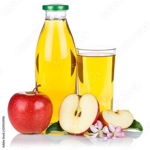Apfelsaft Apfel Saft frisch Äpfel Flasche Fruchtsaft Quadrat freigestellt isoliert - 204338196