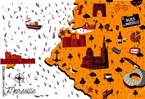 Map Of France Cartoon.Bright Cartoon Style France Marseille Sightseeing Vector Map Summer