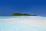 Wild Maldives island with sandy beach - 204342919