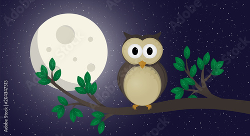 Aluminium Uilen cartoon Cute owl illustration vector. The owl sits on a branch.Night