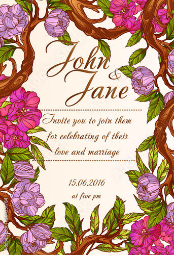 Fototapeta Wedding invitation template with magnolia flowers