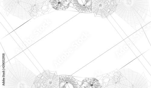 Fototapeta frame from black spider webs group on white