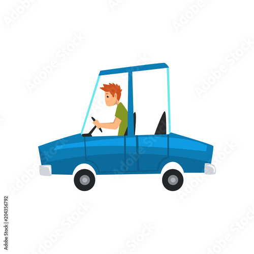 Fotobehang Auto Man driving blue car, side view vector Illustration on a white background