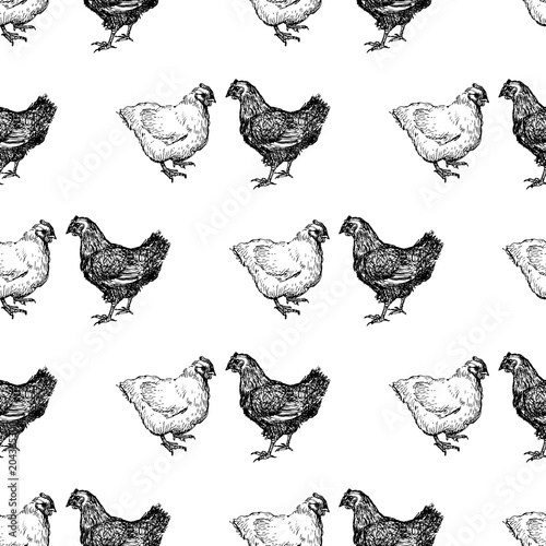 Materiał do szycia Pattern of the drawn hens
