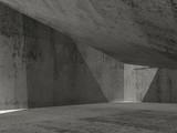 Abstract dark concrete interior, 3d illustration