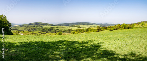 Panoramic view of spring or summer countryside