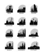 Germany cities icons set, modern skyline citysape landmark logo vector pack