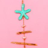 Souvenir. Handmade. Flowers Wooden accessories. Flat lay - 204374725