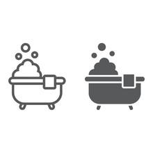 Bath Line And Glyph Icon Real Estate Sticker