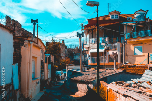 ghetto district with rural houses at greece