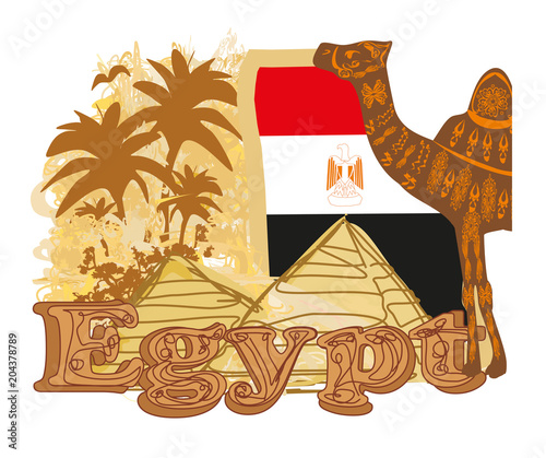 Vintage banner with pyramids giza, flag and camel