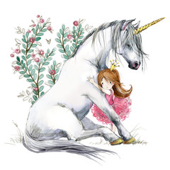 White unicorn and princess watercolor hand drawn illustration
