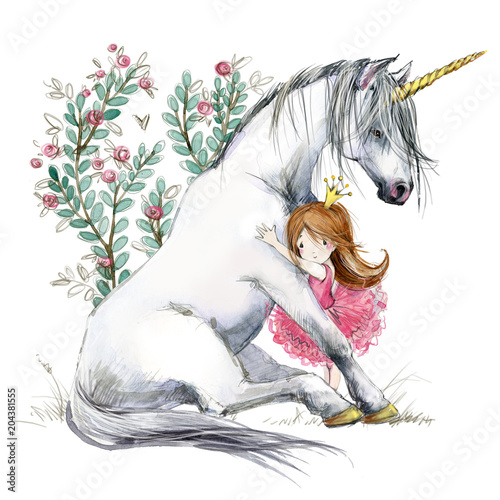White unicorn and princess watercolor hand drawn illustration