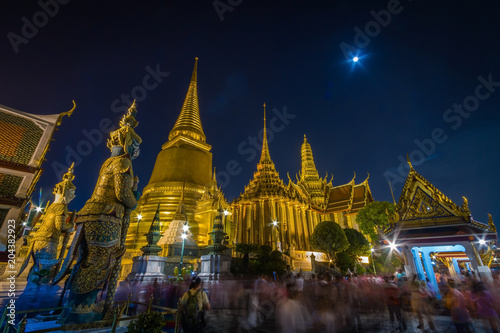 Canvas Bangkok Night Scene of Wat Phra Kaew,the Grand Palace of ThailandThailand