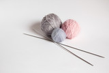 three woolen thread bundle for knitting and knitting needles - 204383363