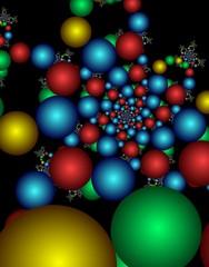 Christmas decoration in the form of colored balls.Digital fractal 3D design.