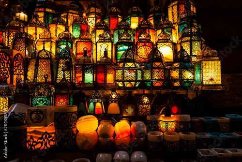 lighting with colors on muslim style's lantern - 204391705
