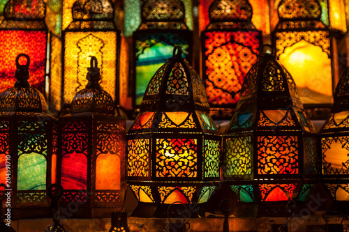 lighting with colors on muslim style's lantern - 204391710