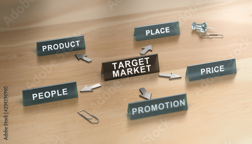The 5ps of Marketing Mix Over White Background.