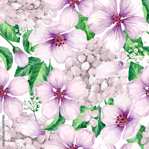 Apple tree flowers, hydrangea flowers,petals and leaves in watercolor style on white background. Seamless pattern for textile, wrapping paper, package, - 204397982