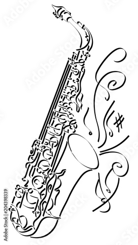 Vector abstract illustration drawing of saxophone.