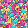 Seamless pattern. Cute dinosaurs. vector - 204398713