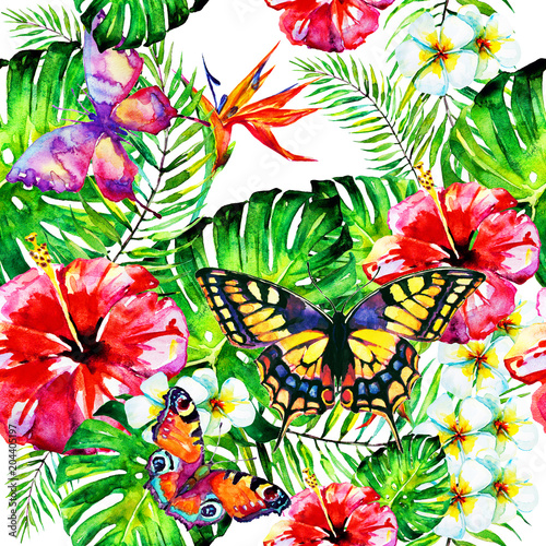 Hawaiian flowers, butterflies, watercolor, exotic plants, isolated on a white - 204405197
