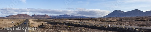 Canvas Canarische Eilanden panoramic view of old and new street in Timanfaya national park