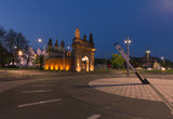night view of the historic port gate in Szczecin.