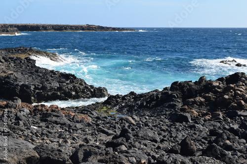 Canvas Canarische Eilanden Vulcanic black coast in Caleta de Fuste, Fuerteventura