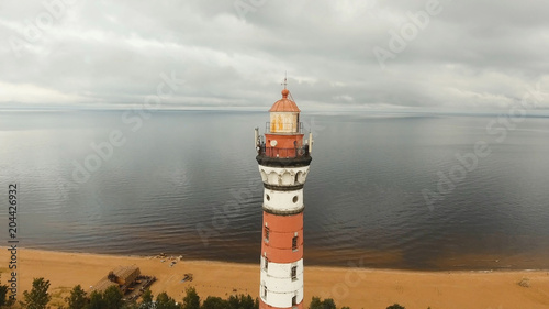 Aluminium Vuurtoren Ancient lighthouse on the coast of the sea, the lake. Aerial view Landscape of Monumental Lighthouse.