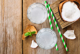 Fresh Organic Coconut Water in a Glass. Food background, selective focus.