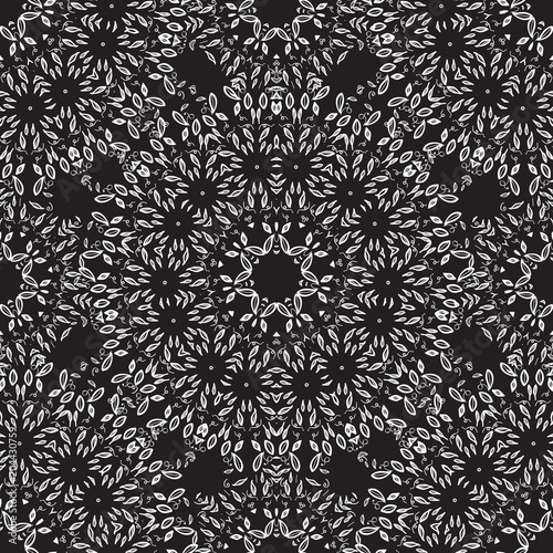 Cotton fabric Mandala Seamless pattern. Vector Hand drawing thin of white on dark.