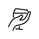 glas of wine in hand vector icon - 204436572