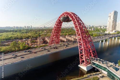 Zhivopisniy bridge, Moscow. Aerial photography