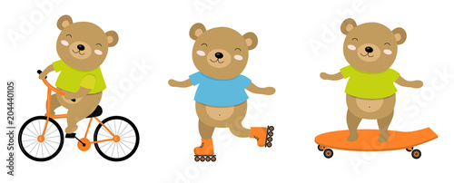 Vector illustration of sporty bear on a bicycle, roller skates, skate. Perfect for postcard, baby book, poster, banner