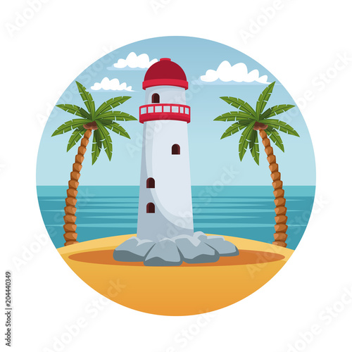 Lighthouse in island cartoon in round symbol vector illustration graphic design