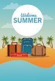 Travel luggage in beachscape vector illustration graphic design - 204441310