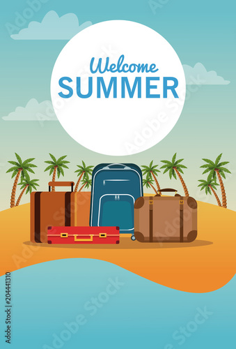 Travel luggage in beachscape vector illustration graphic design