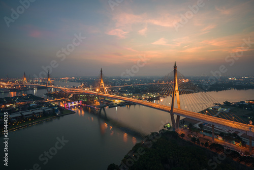 Canvas Bangkok Bhumibol Bridge also known as the Industrial Ring Road Bridge is part of the Industrial Ring Road connecting southern Bangkok with Samut Prakan Province in Thailand.