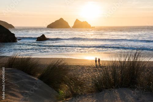 Aluminium Zee zonsondergang Sand dunes and beach sunset