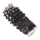 virgin remy deep wave black human hair weaves extensions lace closure - 204452179