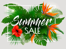 Tropical Summer Sale   Exotic Leaves And Coloful Flowers  Sticker