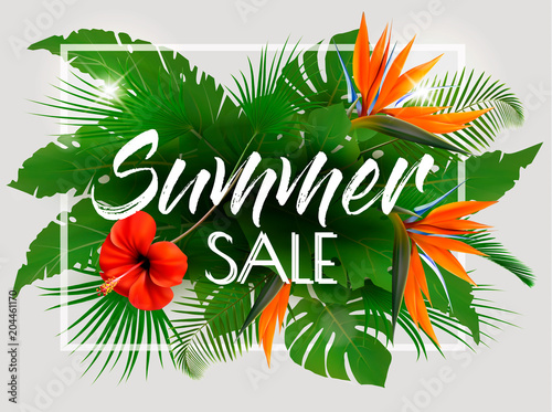 Tropical Summer Sale Background With Exotic Leaves And Coloful Flowers. Vector
